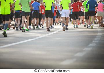renners, gebeurtenis, marathon, helft