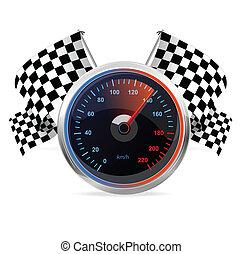 rennsport, geschwindigkeitsmesser, und, checkered, flags.,...
