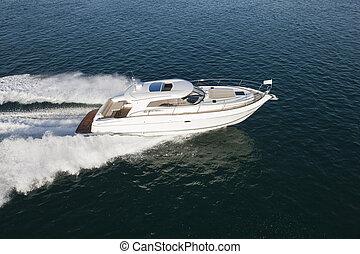 rennsport, luxuriös, yacht, wasserlandschaft