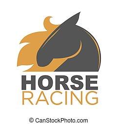 rennsport, pferd, emblem