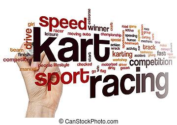 rennsport, wort, kart, wolke