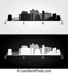 Reno USA skyline and landmarks silhouette, black and white design, vector illustration.