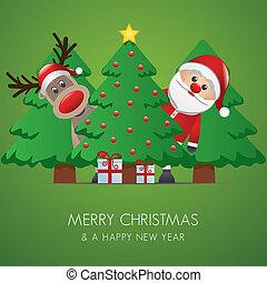 reno, claus, árbol, navidad, santa