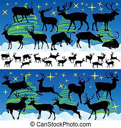 reno, navidad, siluetas