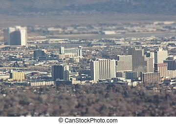 Reno Nevada arial - shots of reno from a high angle. slight...