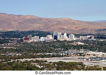 Reno Nevada Skyline - The city skyline of Reno, Nevada with...