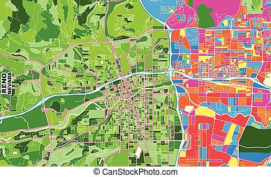 Colorful vector map of Reno, Nevada, U.S.A.. Art Map template for selfprinting wall art in landscape format.