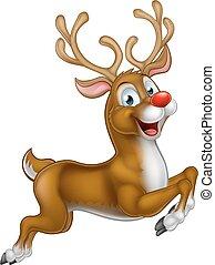 reno, santas, caricatura, navidad