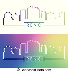 Reno skyline. Colorful linear style.