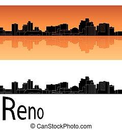 Reno skyline in orange background in editable vector file