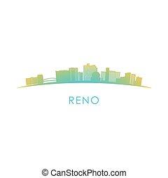 Reno skyline silhouette. Vector design colorful illustration.