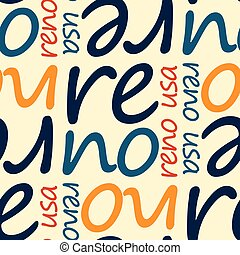 reno, usa seamless pattern, typographic city background texture