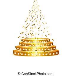 renommée, vide, endroit, étagère, or, projecteur, blanc, vecteur, popularity., podium, doré, exposition, rond, illustration., fond, premier, confetti
