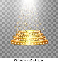 renommée, vide, endroit, étagère, transparent, or, projecteur, vecteur, popularity., podium, doré, exposition, rond, illustration., fond, premier, confetti