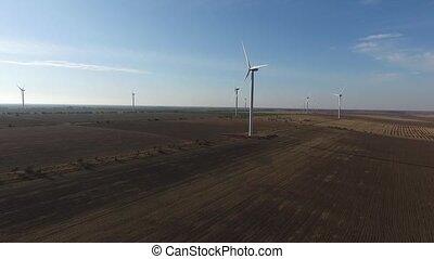 renouvelable, aérien, vent, energy., turbines, tourner, farm.