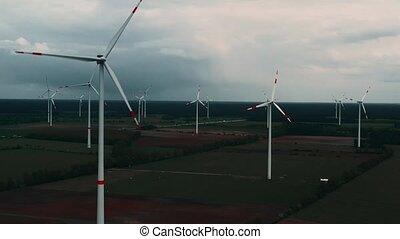 renouvelable, puissance, concept., turbines, soutenable, -, ...