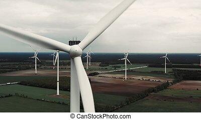 renouvelable, puissance, concept., turbines, soutenable, -, énergie, vent