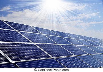 renouvelable, solaire, soleil, puissance, utilisation, énergie, plante