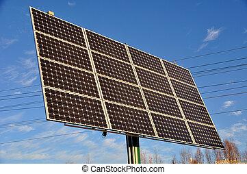 renovável, poder solar, painel, energia