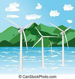 renovável, tur, offshore, dê energia corda