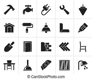 renovação, ícones, predios, lar