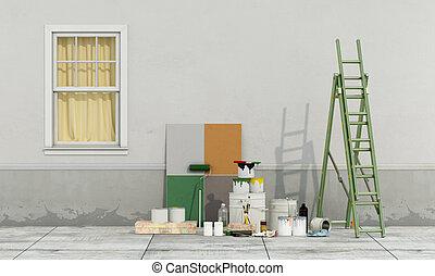renovação, de, um, antigas, fachada