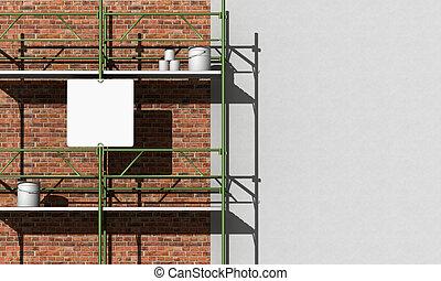 renovação, de, um, fachada