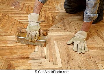 renovação lar, acabamento, parquet