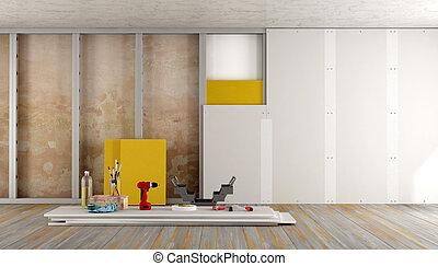 renovação lar, de, um, antigas, sala