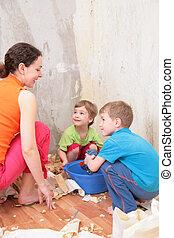 renovações, mãe, faz, sala, crianças