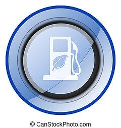 renovable, biofuel, etanol, azul, vector, icono