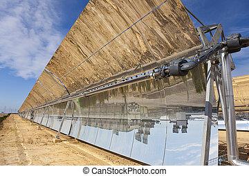 renovable, parabólico, solar, espejo, depresión, paneles, ...
