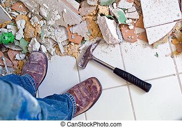 renovar, y, restaurar, el, cuarto de baño