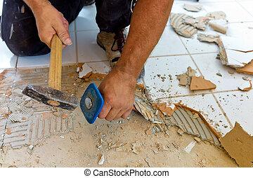 renovate and refurbish the bathroom - broken tiles in the...