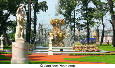 renovated Summer garden park in St. Petersburg Russia