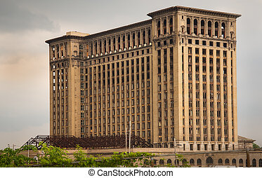 Old Michigan Union train Station standing abandoned