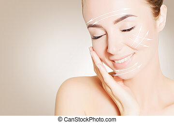 renovating skin concpet. woman face portrait with lifting marks