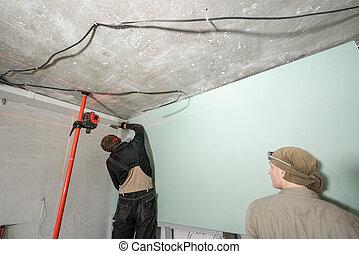 renovation., alignment., laser, niveau, mur, lumière, equipment., drywall, construction, measure., mesure, installation, pendant, outils, lignes, rouges