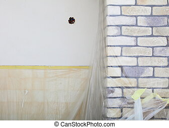 Renovation at home decorate wall clinker brick tile glue