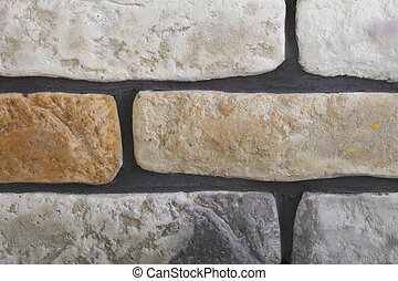 Renovation at home wall clinker tile as background -...