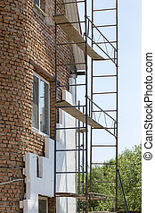 renovation., bâtiment, échafaudage, maison, ouvriers, maison...