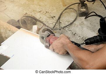 renovation., carreau, découpage, flooring., maison