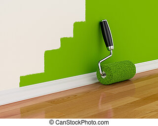 Renovation concept - 3d render of roller brush with part...