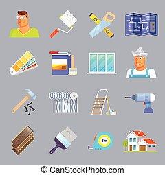 Renovation Flat Icons Set