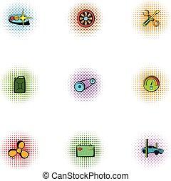 Renovation for machine icons set, pop-art style