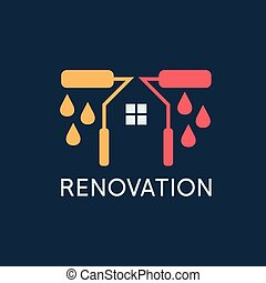 Renovation .House remodeling, flat design, negative space concept .Vector