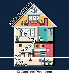 Renovation .House remodeling, flat design .Vector