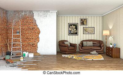 Renovation interior big room; 3d illustration