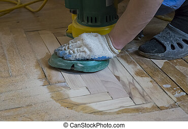 Renovation of an old wooden parquet floor