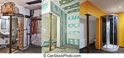 renovation, og, konstruktion, i, drywall-plasterboard, ind,...